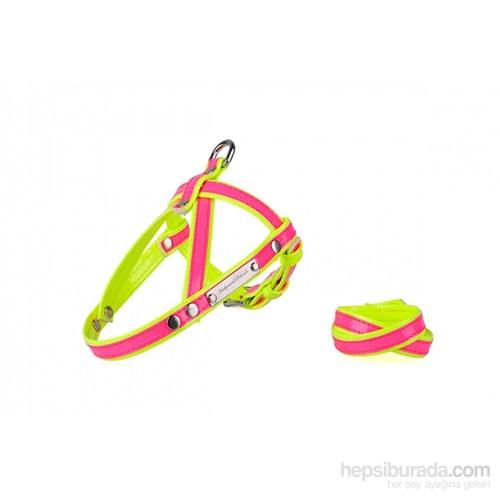 Neon Pembe-Sarı S Göğüs Tasma/Bileklik