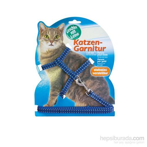 Katzen Kedi Göğüs Tasması Reflektörlü Mavi