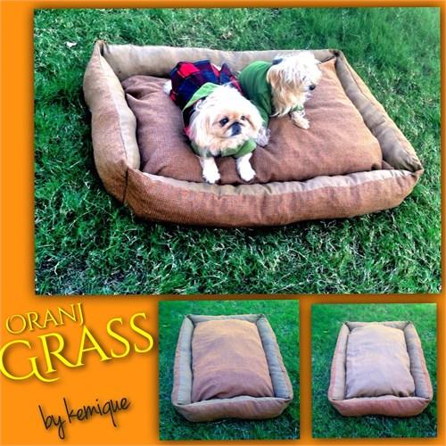 Kemique Oranj Grass Köpek Yatağı 2X-Large