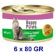 Happy Paws Duck and Turkey in Gravy Ördek Etli ve Hindi Soslu Yetişkin Kedi Konservesi 80 Gr. (6 Adet)