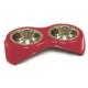 Croci Köpek Mama Kabı Çift Hazne Paslanmaz Çelik Kırmızı 2*400ml/14cm
