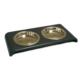 Croci Kedi Mama Kabı Çift Hazne Paslanmaz Çelik Siyah 2*180ml/12cm
