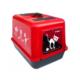 Kedi Kapalı Tuvalet Kabı Kırmızı