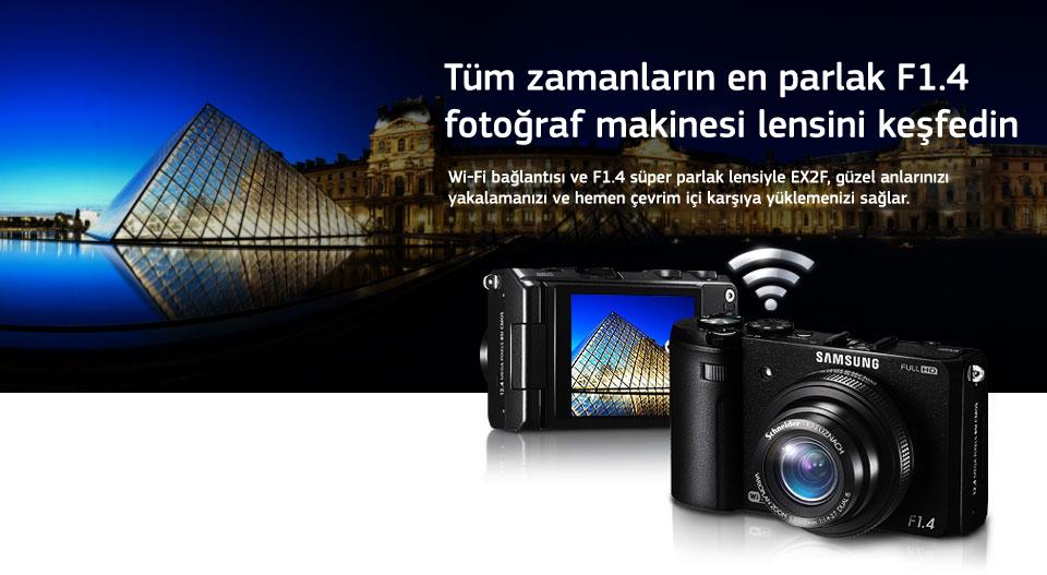 Tüm zamanların en parlak F1.4 fotoğraf makinesi lensini keşfedin Wi-Fi bağlantısı ve F1.4 süper parlak lensiyle EX2F, güzel anlarınızı yakalamanızı ve hemen çevrim içi karşıya yüklemenizi sağlar.