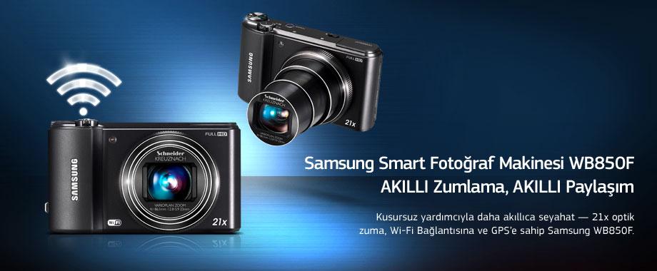 Samsung Smart Fotoğraf Makinesi WB850FAKILLI Zumlama, AKILLI Paylaşım Kusursuz yardımcıyla daha akıllıca seyahat — 21x optik zuma, Wi-Fi Bağlantısına ve GPS'e sahip Samsung WB850F.
