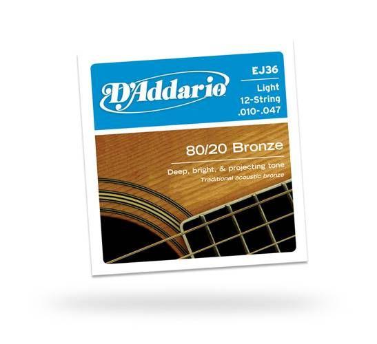 Daddario EJ36 Light 12 Telli Akustik Gitar Teli
