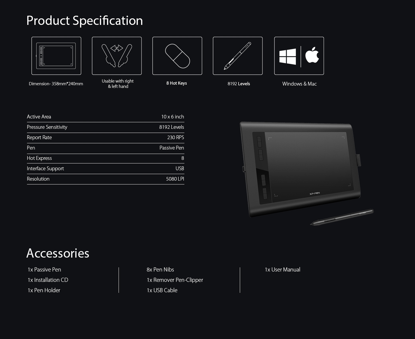 Ugee Xp-Pen Star03 PRO 8192 Seviye 5080LPI Profesyonel Fiyatı