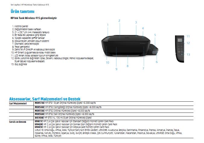 HP Ink Tank Wireless 415 Fotokopi + Yorumları