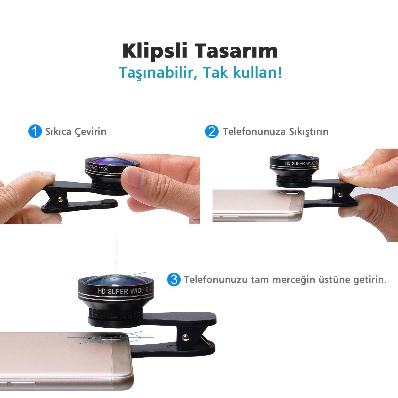 Case 4u Selfie Cep Telefonu Kamera Lensi  (iPhone-Samsung-Nokia-Sony-Huawei-General Mobile-Asus-HTC-LG) Tek Parça