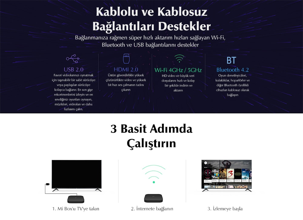 Xiaomi Mi Box S 4K HDR Android TV Streaming Media Player ve Google Asistan Uzaktan Kumandalı Resmi Uluslararası Versiyon- Black EU Plug