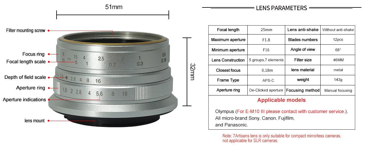 7Artisans 25mm / F1.8, yedi elemanlı / beş grup optik tasarıma sahiptir. Objektif, düşük ışıkta çekim için hızlı ve parlak maksimum F1.8 diyafram açıklığına sahip.