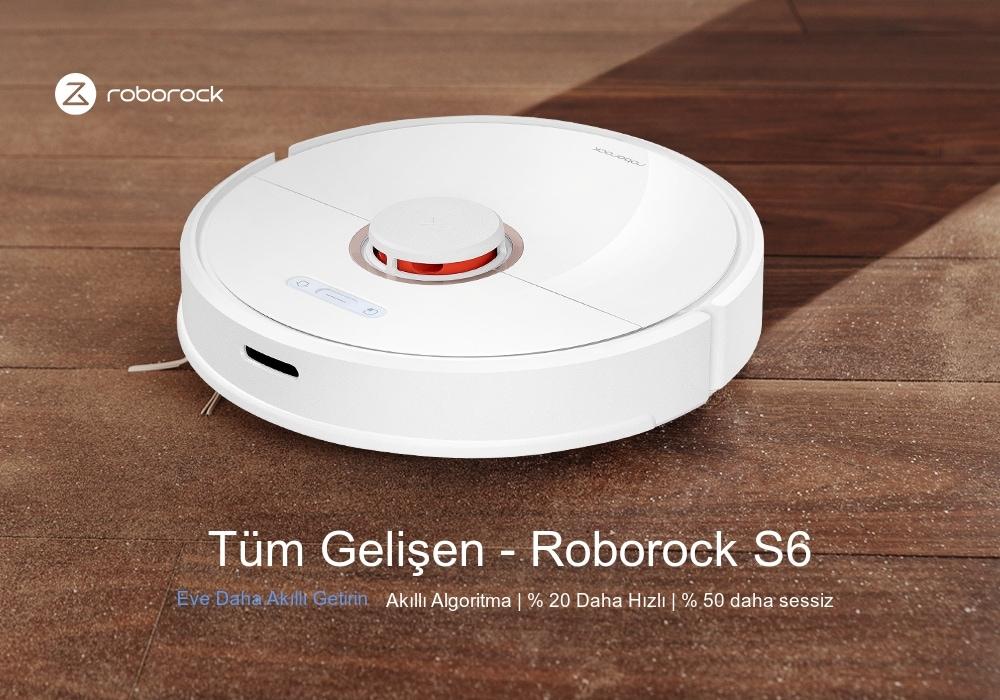 Roborock S6 LDS Tarama SLAM Algoritmalı Robot Süpürge- Beyaz EU Fiş