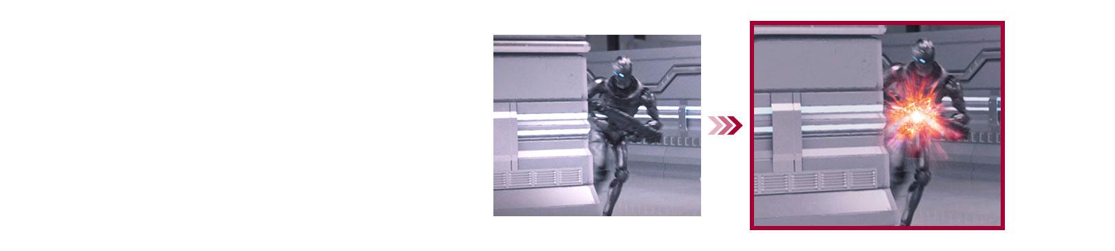 Geleneksel mod ile minimum giriş gecikmesi sunan Dinamik Hareket Senkronizasyonu modu arasında iki oyun sahnesinin karşılaştırması