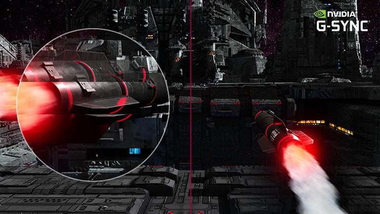 FPS oyununda bir füze hedeflere büyük bir hızla dönerek uçar, hızlı dönme hareketi yakınlaştırma ile yakalanır, daha büyük boyutlu görünüm G-sync modu açıkken akıcı harekete geçerken başka bir sahnede G-sync modu kapalıdır.