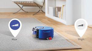 Dyson 360 Heurist robotu bir halıyı temizlemek için Max moduna geçiyor