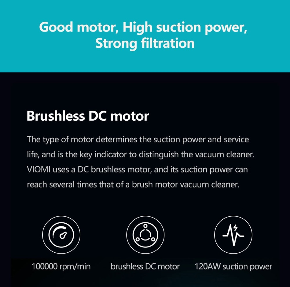 VIOMI A9 Handheld Wireless Vacuum Cleaner Front LED Light 23KPa Portable Cordless floor Carpet Dust Collector, Removable battery 3
