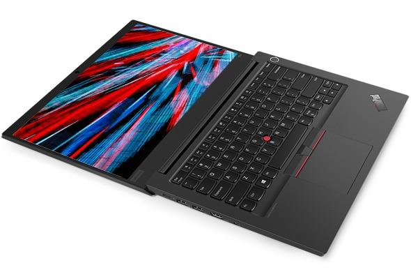 Shot of the Lenovo ThinkPad E14 laptop folded flat, revealing keyboard and display