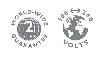 2 yıllık garanti, dünyanın her yerindeki gerilim değerleriyle uyumluluk ve değiştirilebilir bıçaklar