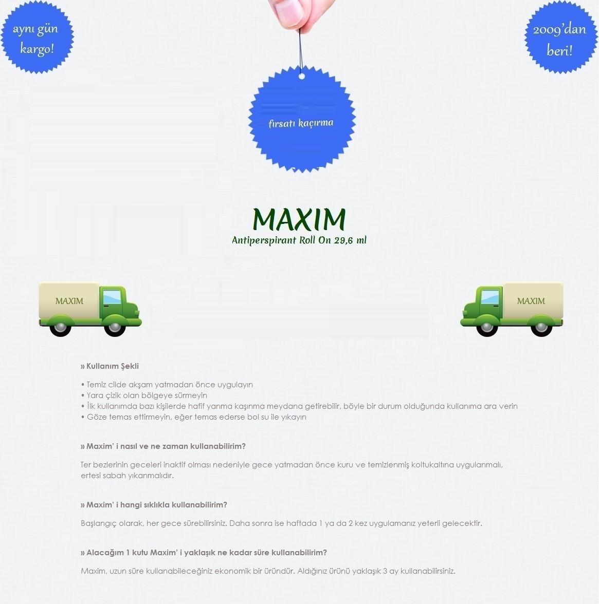 Maxim Roll On Fiyat Taksit Seenekleri Ile Satn Al Antiperspirant Deodorant Rol Uzun Sre Kullanabileceiniz Ekonomik Bir Rndr Aldnz Rn Yaklak 3 Ay Kullanabilirsiniz