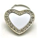 Kristal Kaplı Celik Kalp Anahtarlık