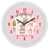Cadran Dekoratif Vintage Duvar Saati Çatlak Desen Ekoseli Demlik 1108-7