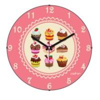 Cadran Mutfak Bombeli Cam Duvar Saati Cupcake 180-16
