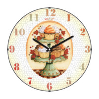 Cadran Mutfak Bombeli Cam Duvar Saati Cupcake 180-4