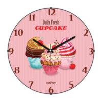 Cadran Mutfak Bombeli Cam Duvar Saati Daily Fresh Cupcake 180-8