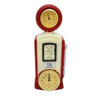 Gold Dekor Benzin Pompası Saat ve Termometre