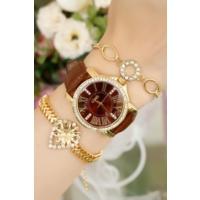 Clariss Marka Sarı Kasa Bayan Saat Ve Bileklik Kombini