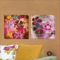 M3Decorium Renkli Çiçekler Kanvas Tablo Duvar Saati