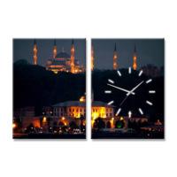 Artmodel İstanbul 2 Parçalı Kanvas Tablo Saat