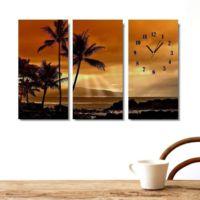 Tictac Design 3 Parça Tablo Saat Sunset