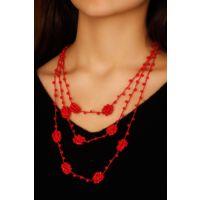 Kırmızı Renk Boncuk Detaylı Bayan Tasarım Kolye