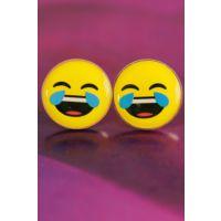 Emoji Tasarımlı Kahkaha Atan Yüz İfadeli Sarı Yuvarlak Bayan Küpe Modeli