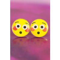Emoji Tasarımlı Şaşkın Yüz İfadeli Sarı Yuvarlak Bayan Küpe Modeli
