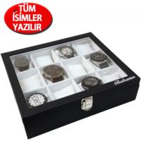 İsminize Özel Gümüş 1 isimli 12'li Siyah Deri Saat Kutusu st12-1