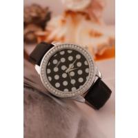 Clariss Siyah Deri Kordon Tasarımlı İç Detayı Puantiyeli Bayan Saat Modeli