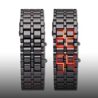 Nomnom Iron Samurai Bileklik Tasarımlı Led Saat - Siyah Gövde Kırmızı Led