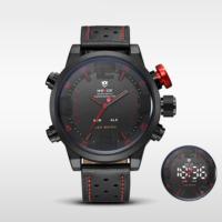 Weide Led Analog Erkek Deri Kol Saati Kırmızı Wh-5210