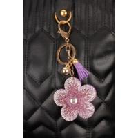 Morvizyon Mor Renk Parlak Taşlı Çiçek Figürlü Anahtarlık