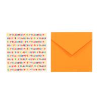 Kart-10 Happy Birtday Tebrik Kartı Turuncu Zarf