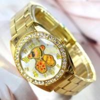 Bonalodi Renkli Ayıcıklı Beyaz Arka Yüz Altın Renk Çelik Saat