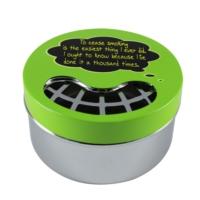 T-Bek Sloganlı Çevirmeli Aç Kapa Kapak Hazneli Yeşil Renk Küllük