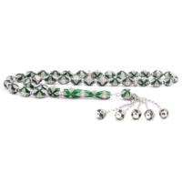 Tesbihane 925 Ayar Gümüş Özel Tasarım Zirkon Taşlı Yeşil Beyaz Fosforlu Mineli Tesbih