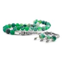 Tesbihane 925 Ayar Gümüş Püsküllü Yeşil Akik Taşlı Tesbih