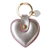 Leather & Paper Gümüş Deri Kalp Anahtarlık