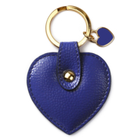 Leather & Paper Mavi Deri Kalp Anahtarlık