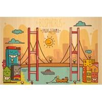 Biggdesign Smiling İstanbul Boğaz Ahşap Kartpostal