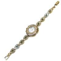 Dhamany Yeşil Beyaz Taşlı Oval Bayan Gümüş Saat